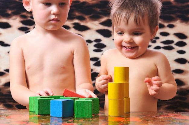 멋진 아이들이 장난감 벽돌을 가지고 놀다 프리미엄 사진