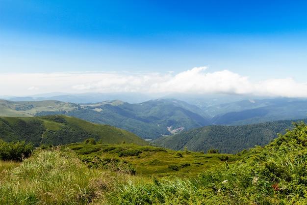 Wonderful landscape of ukrainian carpathian mountains. Free Photo