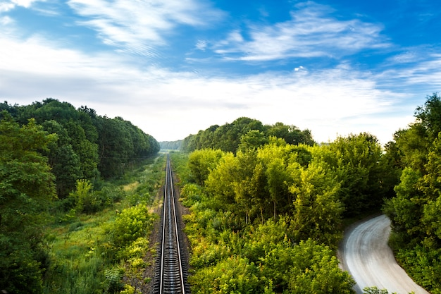 Wonderful view of railway and countryside road among trees. Free Photo