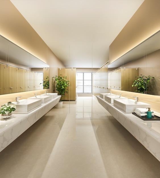 나무와 현대 타일 공중 화장실 프리미엄 사진