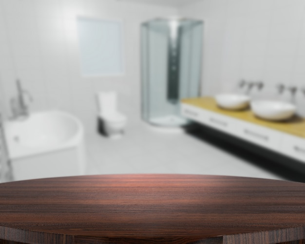 Il rendering 3d di un tavolo di legno con un bagno contemporaneo defocussed in background Foto Gratuite
