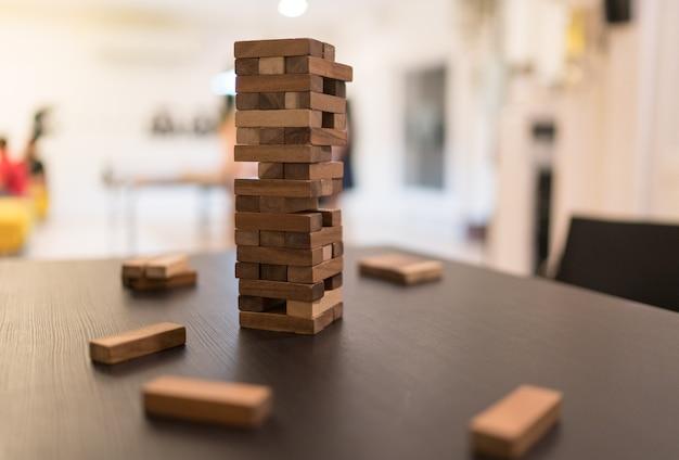 Wood blocks stack game Premium Photo