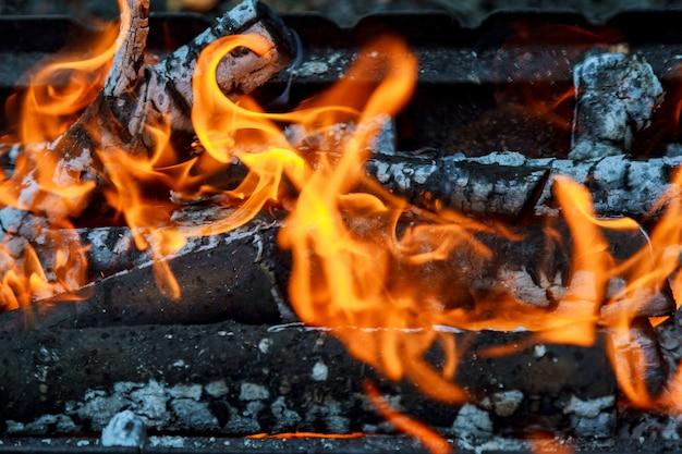 Wood burning in the fireplace closeup. Premium Photo