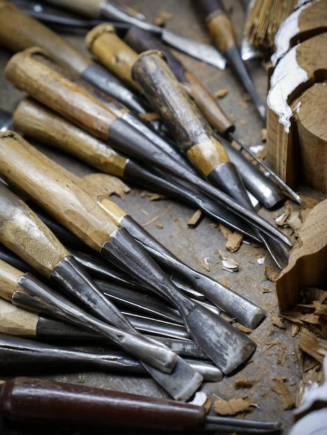 Wood carving tools Premium Photo