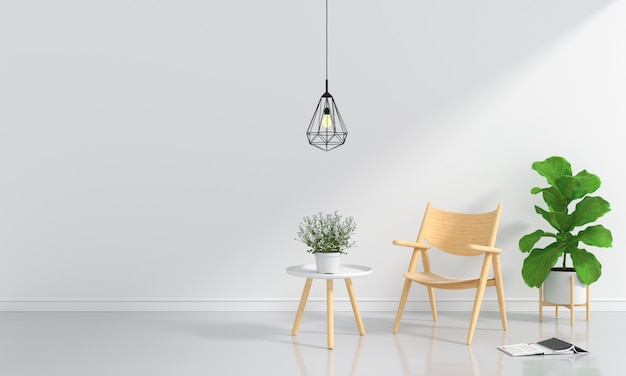 Wood chair and table in white room Premium Photo