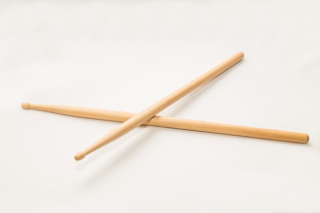 Wood drumsticks isolated in white Premium Photo