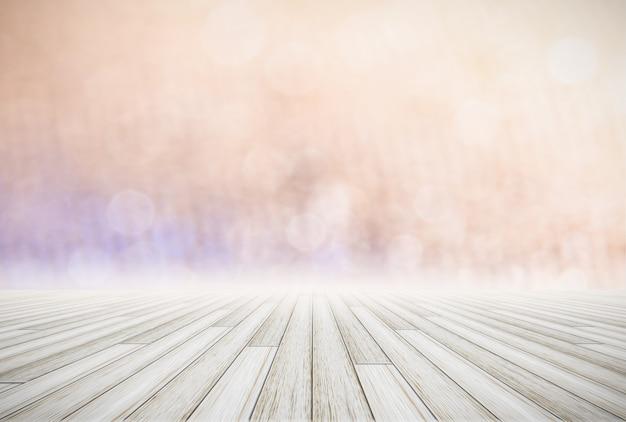 Wood floor and natural scenery Premium Photo