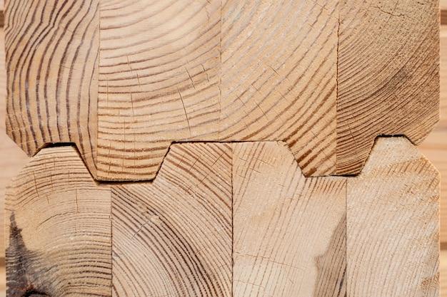 Wood glued timber close up Premium Photo