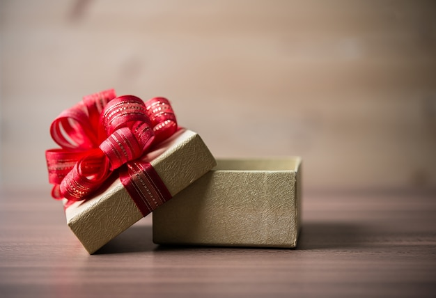 Wood red gift closeup above Free Photo
