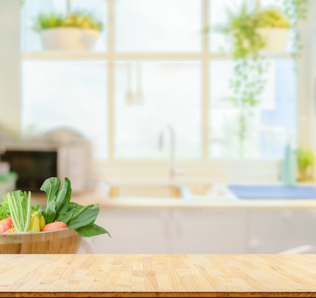 wood table top on blurred kitchen background  premium photo