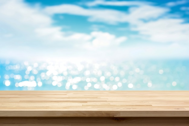 Wood Table Top On Blur Shiny Sea Water And Summer Sky