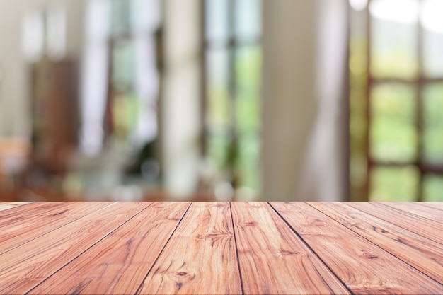 Wood table top reception counter or cash counter restaurant Premium Photo
