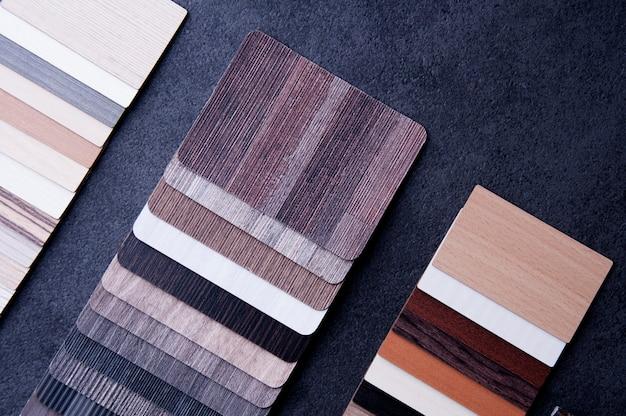 Wood texture floor samples of laminate and vinyl floor tiles Premium Photo