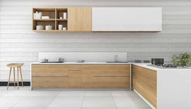 Wood vintage kitchen and dining room Premium Photo