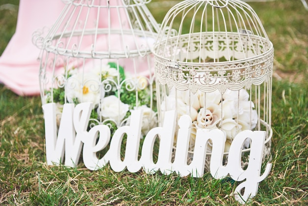 Wood white hand made welcome wedding decoration. Free Photo