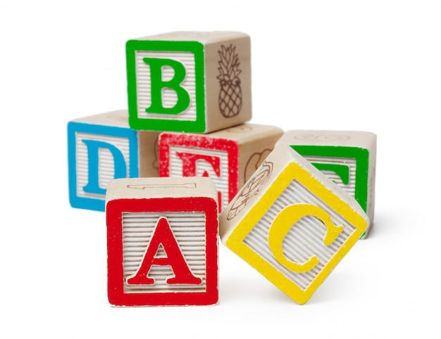 Wooden alphabet blocks isolated on white Premium Photo