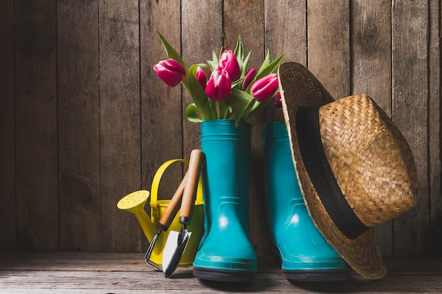 Wooden background with gardening elements Free Photo