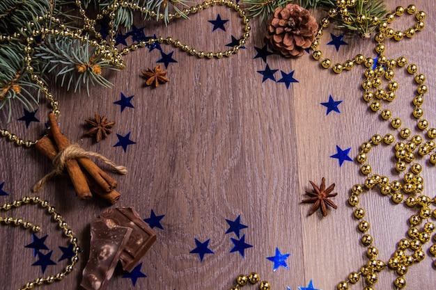 Wooden background with winter festive decor Premium Photo