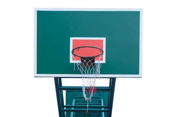 Деревянное баскетбольное кольцо изолировать белый фон, баскетбольная корзина Premium Фотографии