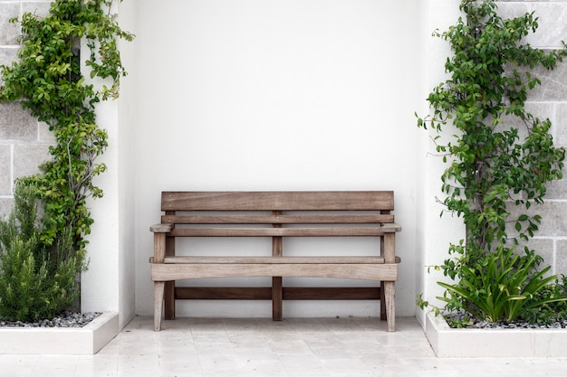 Wooden bench in front of concrete wall with ivy Premium Photo