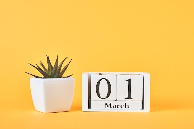 日付3月1日と黄色の背景に植物と木製ブロックカレンダー Premium写真
