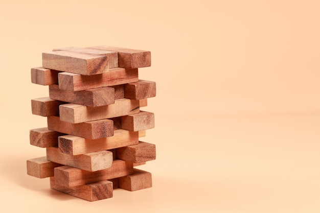 Wooden block stacking, financial and business growth Premium Photo