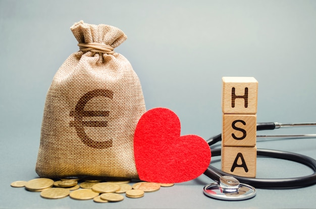 Wooden blocks with the word hsa Premium Photo