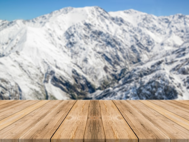 Wooden board empty table in front of blurred background Free Photo