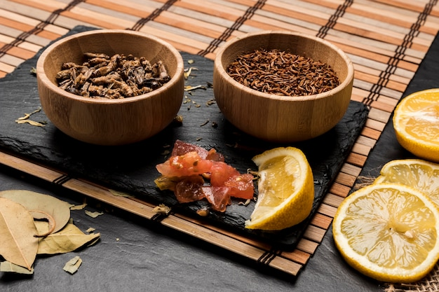 Wooden bowls full with insects Free Photo