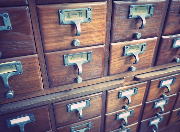 Wooden boxes for index cards in library Premium Photo