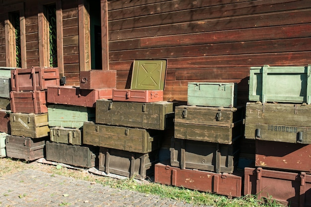 Wooden boxes for weapons storage and transportation Premium Photo