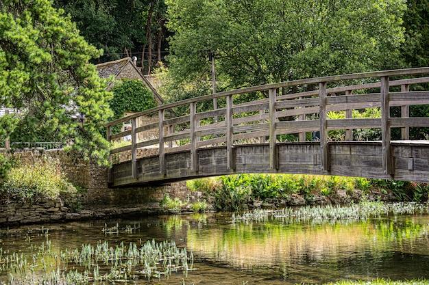 緑の森の川の上の木製の橋 Premium写真