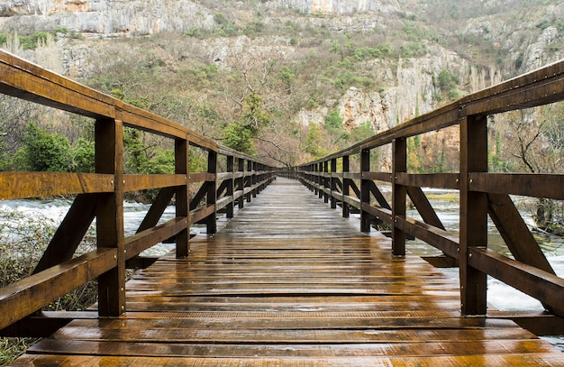 Wooden bridge surrounded by rocks covered in greenery in krka national park in croatia Free Photo