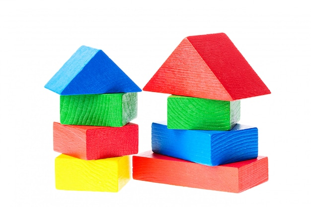 Wooden building blocks for kids isolated on white Premium Photo