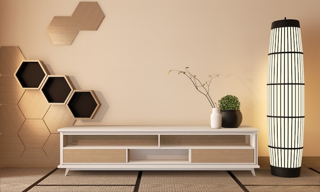 Wooden cabinet tv with wooden hexagon tiles on wall and tatami mat floor room japanese style, 3d rendering Premium Photo