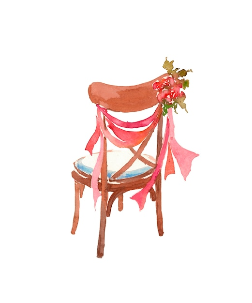 Wooden chair decorated with roses ribbons wedding decor Premium Photo