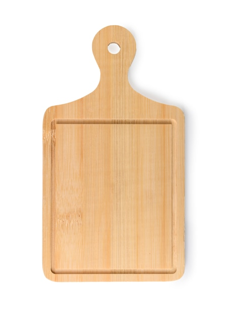 Wooden chopping board on a white Premium Photo