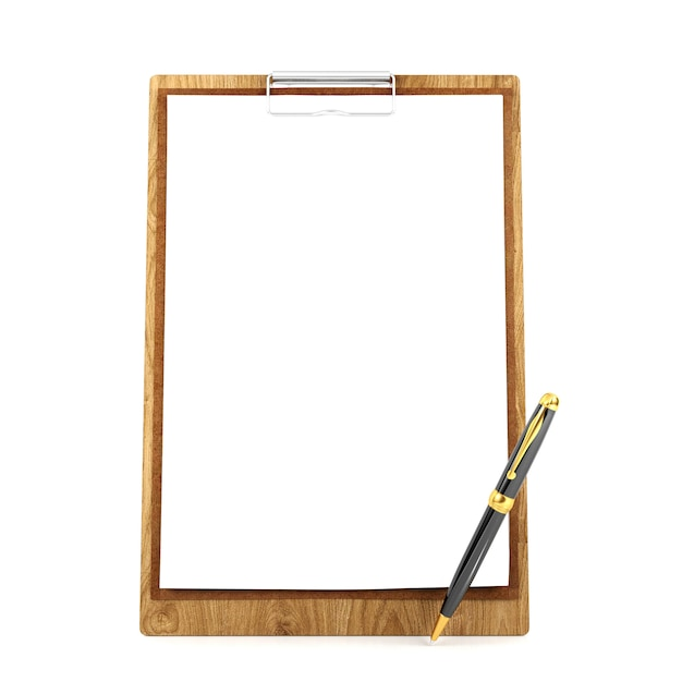 Wooden clipboard with blank paper and pen Premium Photo
