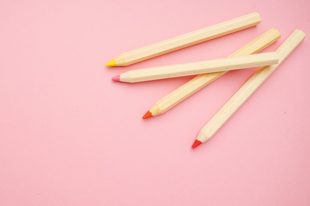 Wooden colorful ordinary pencils. back to school. Premium Photo