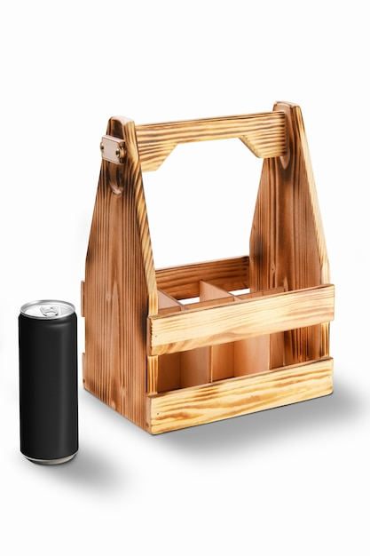 Wooden container for cans or bottles Premium Photo