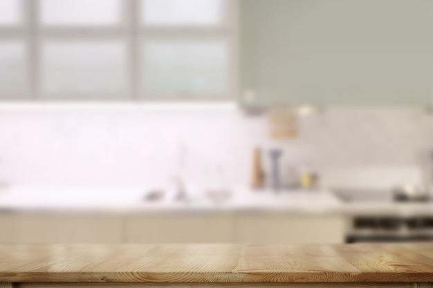Wooden counter tops table with modern kitchen room background. Premium Photo