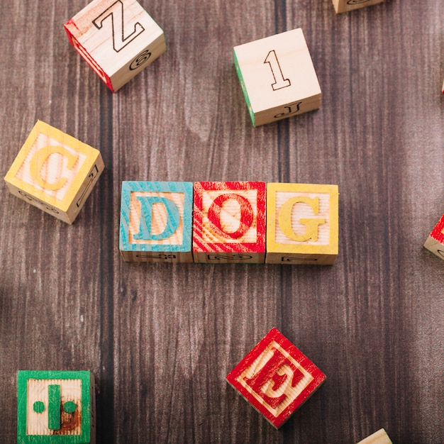 Wooden cubes with dog inscription Free Photo