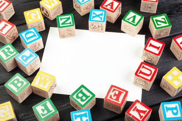 Wooden cubes with letters with copy space Premium Photo