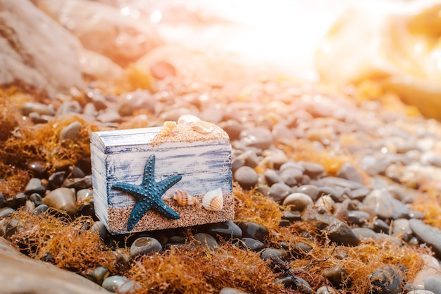 Wooden decorative chest with sea shells and blue star on the sea coast. Premium Photo