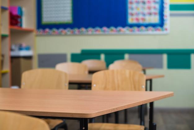Wooden desks in classroom Free Photo