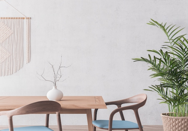 Wooden dining room design on gray wall mock up Premium Photo