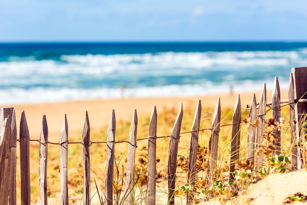 Wooden fence on an atlantic beach in france, the gironde department. shot with a selective focus Premium Photo