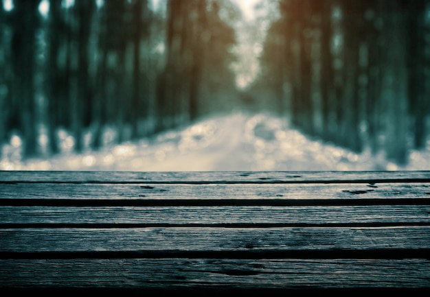 Wooden floor in forest. Premium Photo