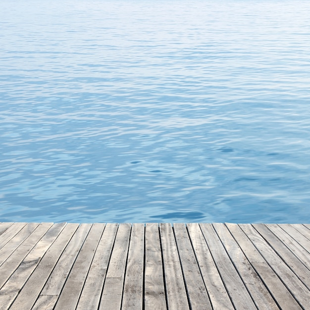 Wooden floor and sea Free Photo