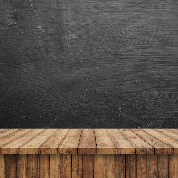 Wooden floor with a blackboard Photo Free Download